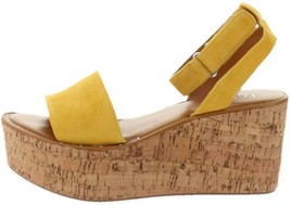 Franco Sarto Ankle Strap Wedges Jovie Summer Yellow 7.5M NEW A306944 - $63.34