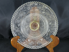 Vintage Ashtray Clear Glass Round Serving Plate w Crystal Design & Gold ... - $15.00
