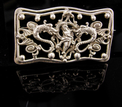 Antique DRAGON sash pin / Nude goddess / victorian jewelry / art nouveau brooch  - $325.00