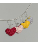 Crochet Bi-color Puffy Heart Earrings / Handmade Earrings / Heart Earrings - $11.00