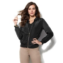 IMAN Runway Chic Mandarin Collar Luxurious Bomber Jacket BLACK 1X NEW 56... - $58.39