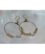 Estate Large Brass Wire Hoops w Goldtone Rings & Clear Plastic Bead Dang... - $9.49