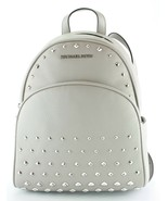 Michael Kors Abbey Medium Backpack Bag Pearl Grey Studded Leather - $467.23