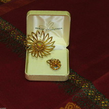 Sarah Coventry Rhinestone Flower Brooch & Adjustable Ring Signed Vintage Jewelry - $18.75