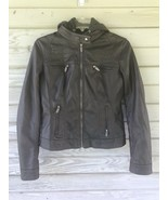 Moto Jacket Motorcycle Downtown Coalition Womens Brown Faux Leather Smal... - $20.00