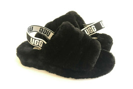 UGG FLUFF YEAH SLIDE BLACK MOCASSIN SLIP ON SANDAL US 9 / EU 40 / UK 7 - $98.18