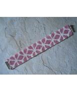 Bracelet: Pink & White Flower Motif, Peyote Stitch, Tube Clasp - $39.00