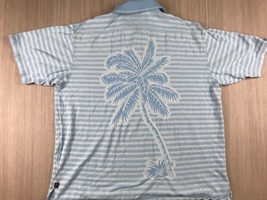 Tommy Bahama 18 Golf Mens Large Silk Blend Tropical Palm Tree Casual Polo Shirt - $20.15