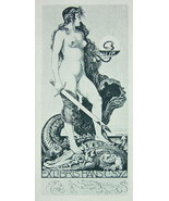 NUDE EX LIBRIS Woman With Swords Stand on Alligator - 1922 Lichtdruck Print - $19.80