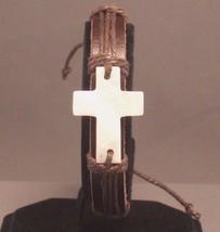 Christian Bracelet Mother Pearl MOP Cross BROWN... - $5.99