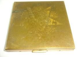 "Vintage Pilcher Star Pattern Metal Powder Compact w/ Mirror ~ 2 7/8"" Square - $12.24"