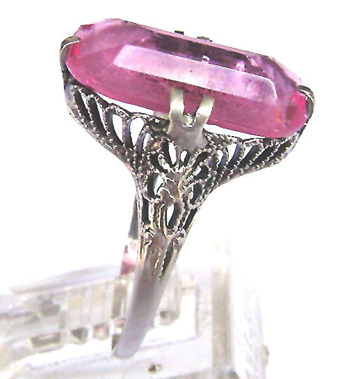 Primary image for Art Deco 14K Ring White Solid Gold Pink Stone Ring Signed 1900's Size 6