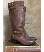 Women's BORN Tall Brown LEATHER Boots DOUBLE-BUCKLE Western Riding Biker... - $120.77