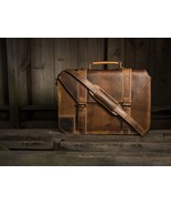 Personalized Genuine Leather Mens Briefcase Laptop Business Bag - $210.00