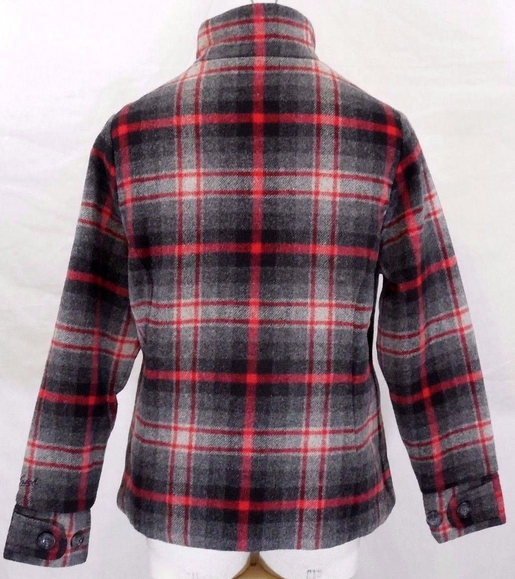 WOOLRICH Womens S/SMALL MAPLE RUN Button UP WOOL Quilt Lined BLACK PLAID Jacket image 8