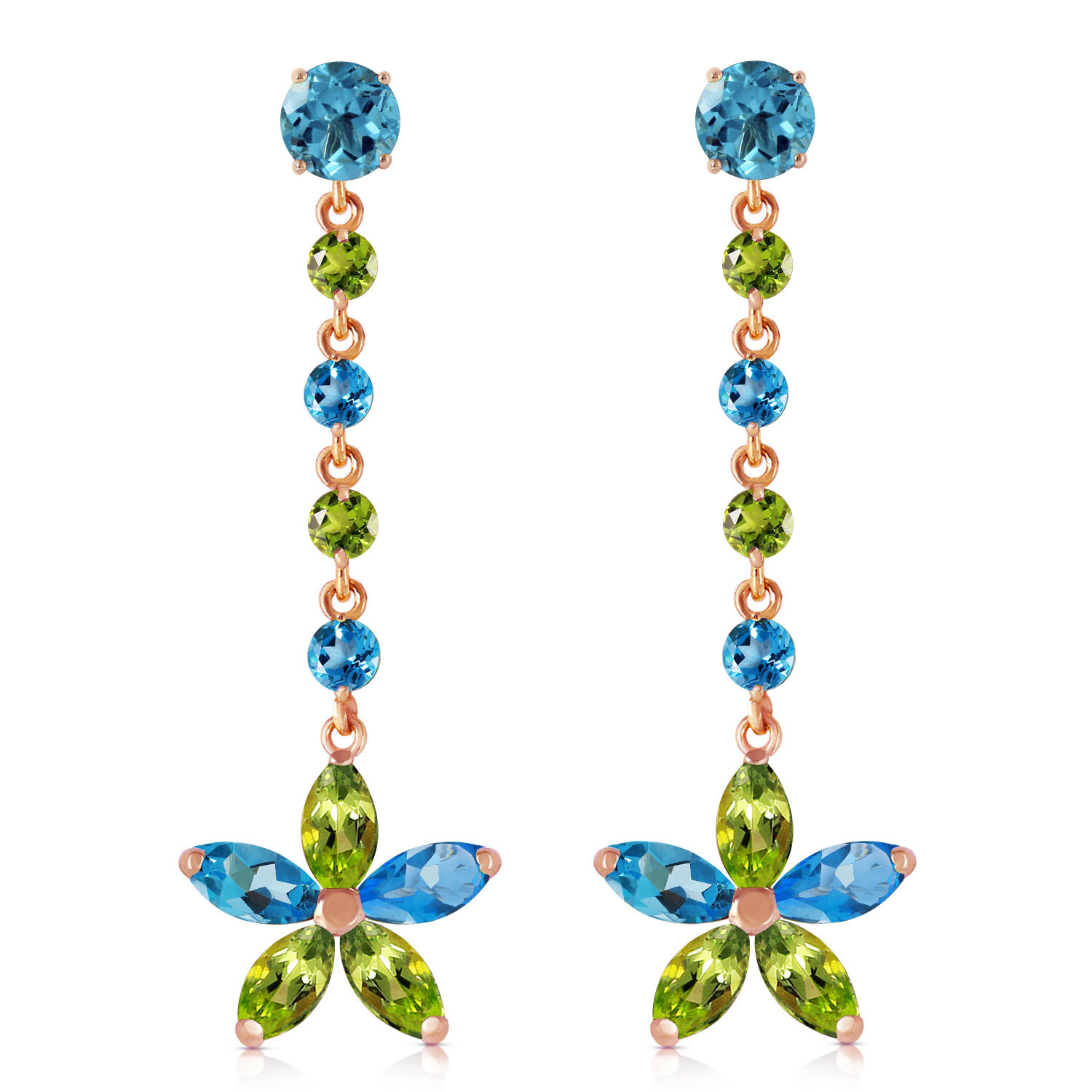 Primary image for 14K Solid Rose Gold Women's Chandelier Earrings w/ Natural Blue Topaz & Peridots