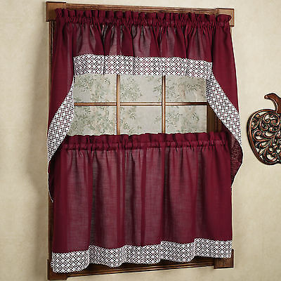 Primary image for Salem Kitchen Curtain - Burgundy w/White Lace Trim - Lorraine Home Fashions