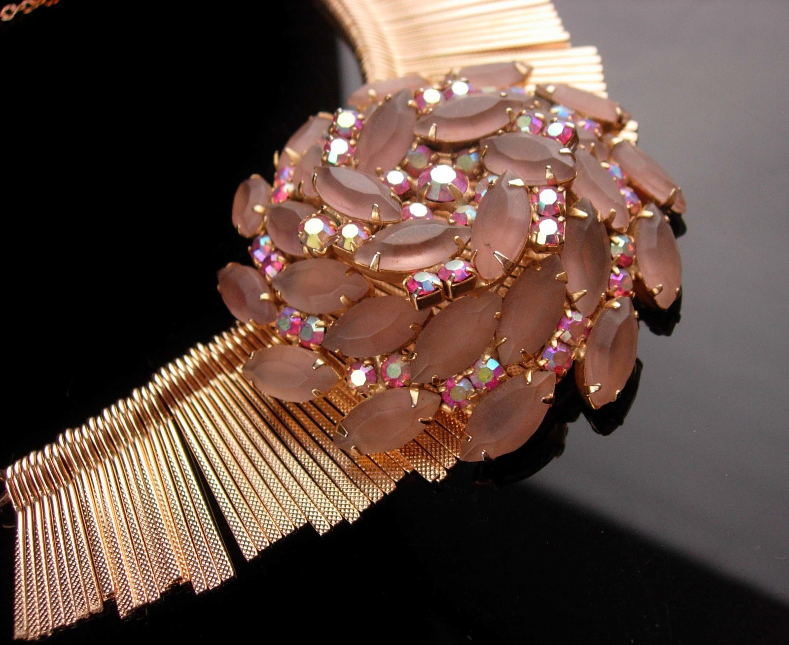 Juliana brooch necklace - vintage BIG 1950's pink rhinestone pin -  Dramatic fri