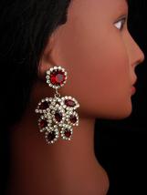 1950's Red Rhinestone earrings - HUGE chandelier drops - garnet red - co... - $95.00
