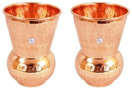 Rastogi Handicrafts Drinking Glass Cup Pure Copper Steins Tumble glass M... - $21.77