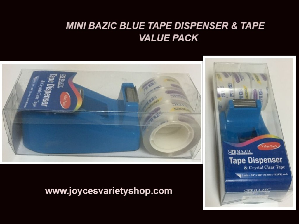 "Mini Tape Dispenser & Clear Tape Value Pack 1"" Core Variety Colors Bazic"