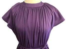 70s Lavender Plum Heather Grecian Style Ruched Draped Tunic Raglan Kimono Sleeve image 4
