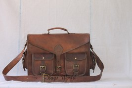 "15"" Men's Genuine Leather Vintage Brown Messenger Bag Shoulder Laptop Bag - $57.42"