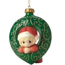 Precious Moments Christmas Ornament You Fill My Heart Girl Santa Hat Green NWOB - $27.71