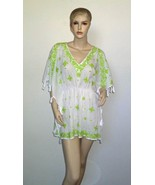 $278 LETARTE Popcorn Embroidered Coverup Poncho White Green Extra Small ... - $69.29