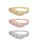 2.14 Ct Round Natural Diamond 10K Gold Halo Bypass Cluster Bangle Bracel... - $981.99