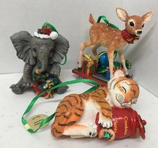 Set of 3 Danbury Mint Baby Animals Christmas Ornament Fawn Deer Elephant... - $27.50