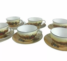 1930s Royal Doulton Series Ware Coaching Days Six Cups & Saucers Multi-M... - $112.20