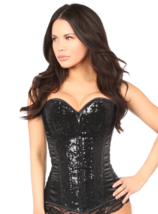 Black Satin and Sequin Corset Top ~ Small to 6X - $99.99