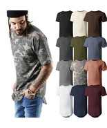Mens BASIC HIPSTER T Shirts Casual Extended Longline Back Hip Hop Tee Big Size - $6.64 - $7.59