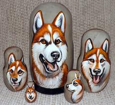 Husky on Russian Nesting Dolls. #3 - $48.00