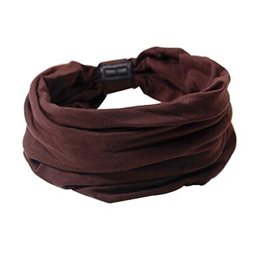 Set of 2 Solid Coffee Color Retro and Casual Style Head Cloth Hair Bands