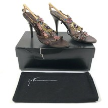 Giuseppe Zanotti 6.5 B Strappy Metal Floral Ankle Chain Gold Brown Heels... - $187.00