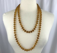 """Extra Long Faceted Amber Tone Glass Bead Knotted Necklace 60"""" Vintage De... - $59.35"""