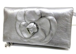 AUTHENTIC CHANEL Camellia Clutch Bag Leather Me... - $770.00
