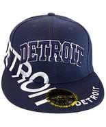 Detroit Large Script Men's Snapback Baseball Caps (Navy/Navy) - $12.95