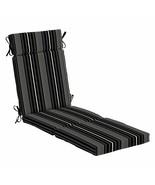 Black Pinstripe Outdoor Chaise Lounge Cushion Seasonal Replacement Pad - $87.71