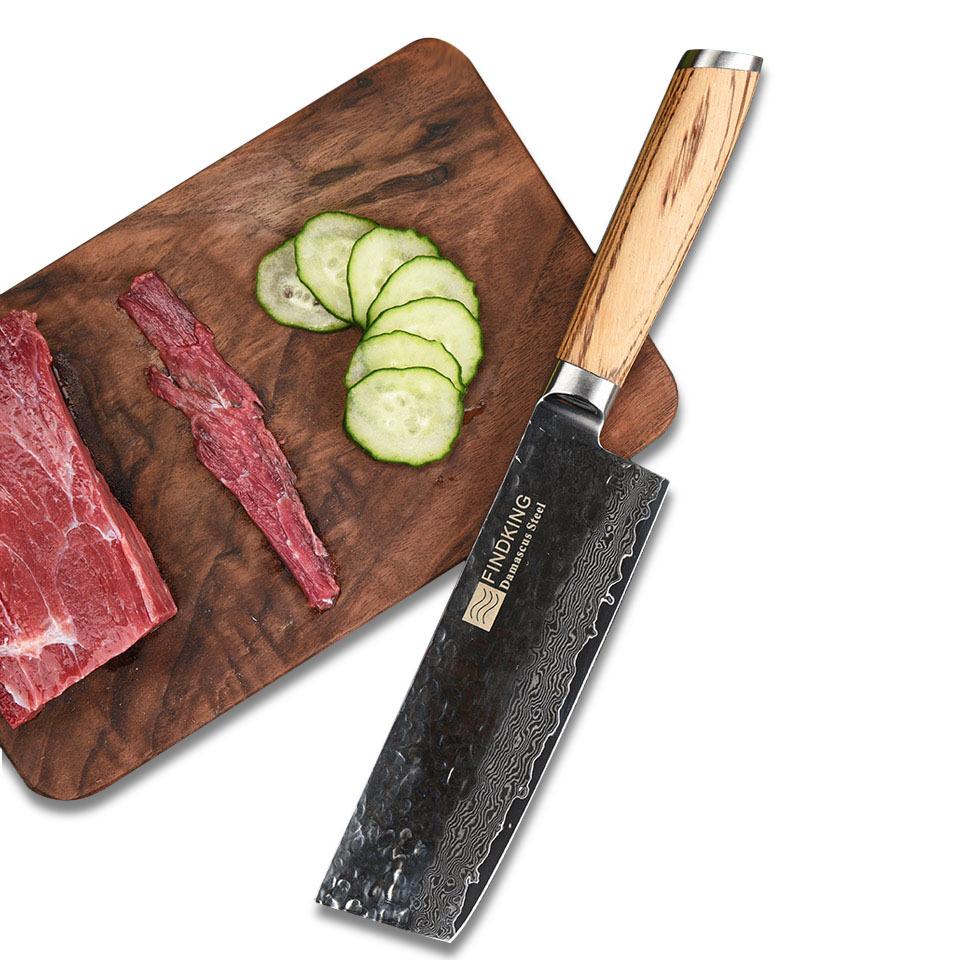 FINDKING Damascus Stainless Steel Knife Blade Zebra Wooden Handle  6.5 Inch Dama