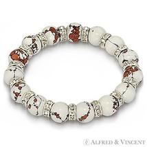 Lampwork White Glass Bead CZ Crystal Beaded Stretch Bracelet - Costume Jewelry - $10.29