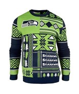 UGLY CHRISTMAS SWEATER NFL SEATTLE SEAHAWKS PATCHES FOOTBALL HOLIDAY XMA... - $62.33