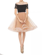 Black Ruffle Midi Tulle Skirt High Waisted Layered Ballerina Skirt Outfit T1878 image 3