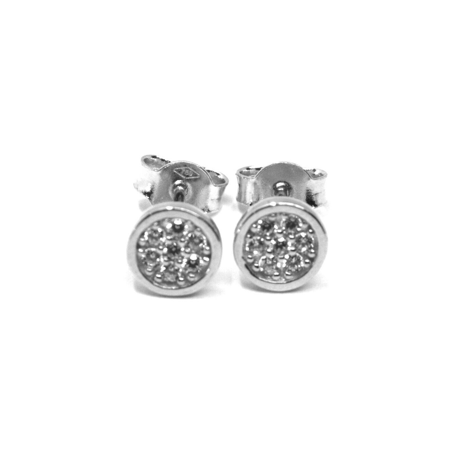 18K WHITE GOLD MINI BUTTON EARRINGS WITH CUBIC ZIRCONIA, DISC FLOWER, 6 MM
