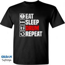 Eat Sleep Drum Men Black T-Shirt New - $17.99