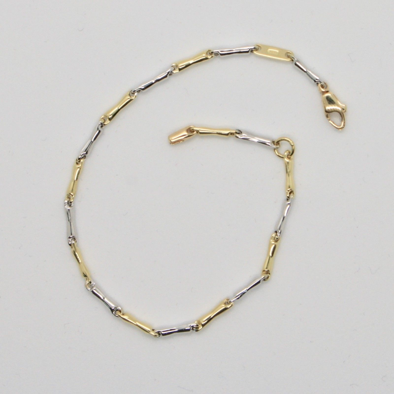 BRACELET OR 18 KT 750 BLANC ET JAUNE TRICOTÉ RONDES MADE IN ITALY 17 CM
