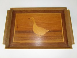 Vtg Wooden Serving Tray Duck Simple Country Wall Art Bar Coffee Table D... - $27.70