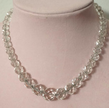 Beautiful Vintage Cut Crystal Faceted Bead Necklace Sterling Clasp - $65.00